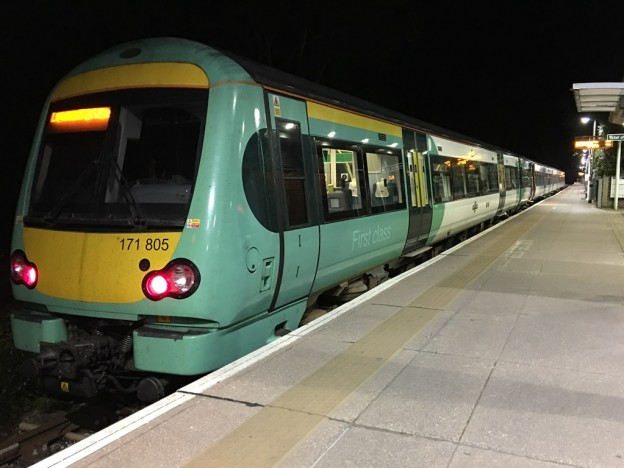 Early morning train waits to depart Uckfield on a London Bridge service