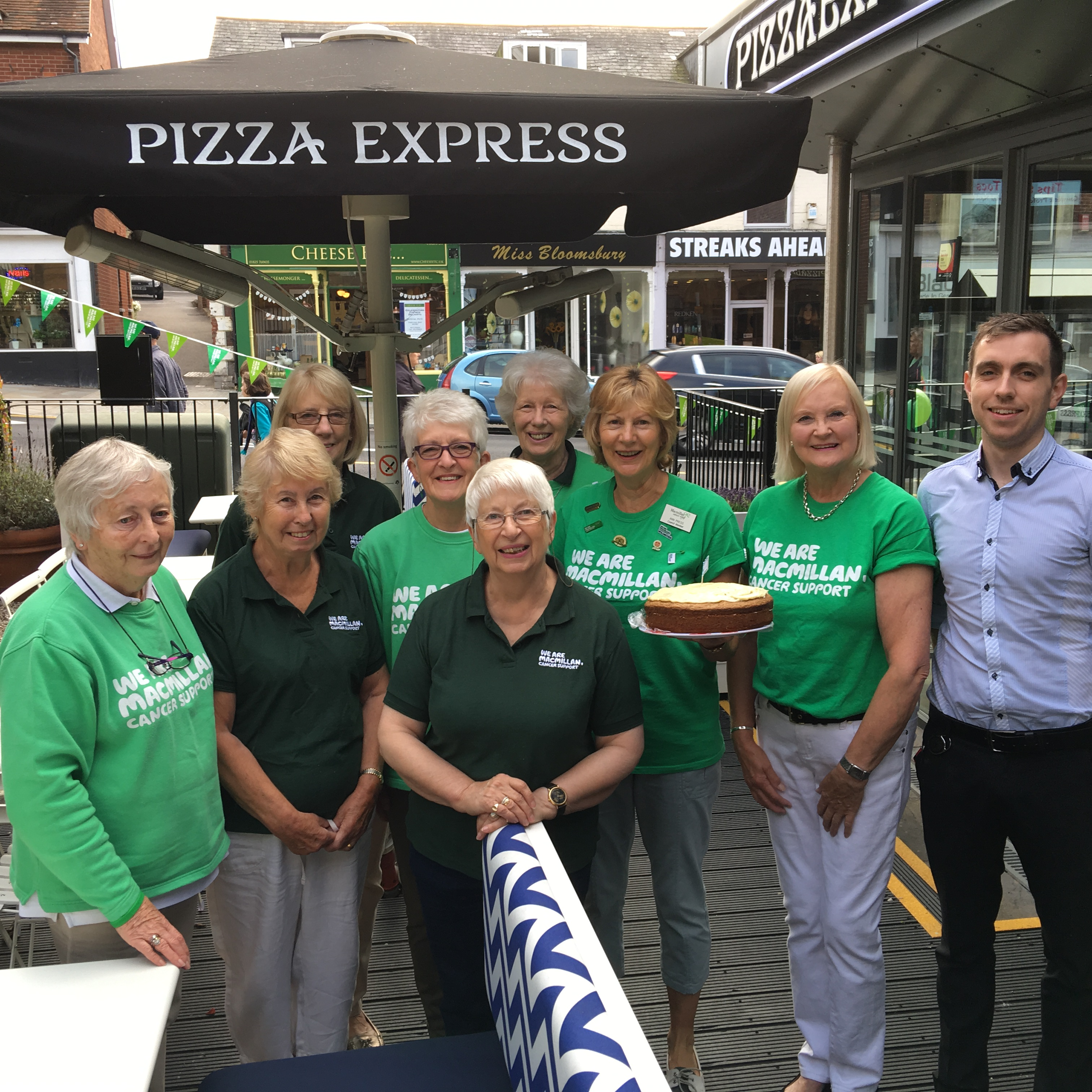 The Uckfield area Macmillan Cancer Support team which ran the Biggest Coffee Morning in the World event at Pizza Express. The restaurant manager, Brendan Kavanagh is also pictured.