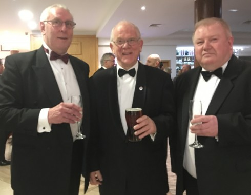 President of the RFU, Peter Baines, centre, with (left) President of Uckfield Rugby Club, Peter Reeves; and the chairman, Gordon Buckland.