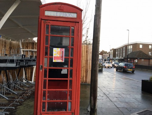 The red phone box – due to be moved by the town council to a central location this year and put to community use