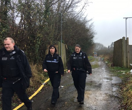 Three police offices leave having this morning visited the site of the fire