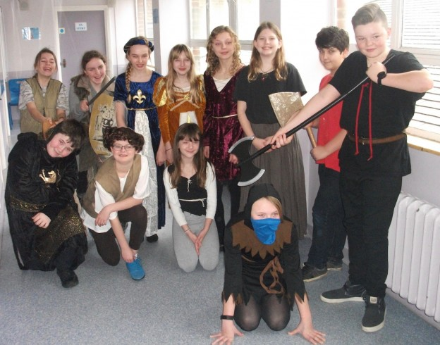 The scene is set for a medieval style execution during a medieval day for Year Sevens at Uckfield Community Technology College.
