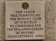 The plaque on the side of the NatWest bank explaining how Uckfield got its town clock