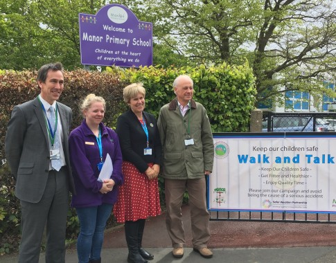 The launch of the Walk and Talk initiative by schools in Downsview Crescent, Uckfield