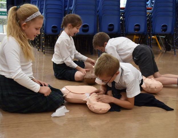 Nutley pupils learning CPR