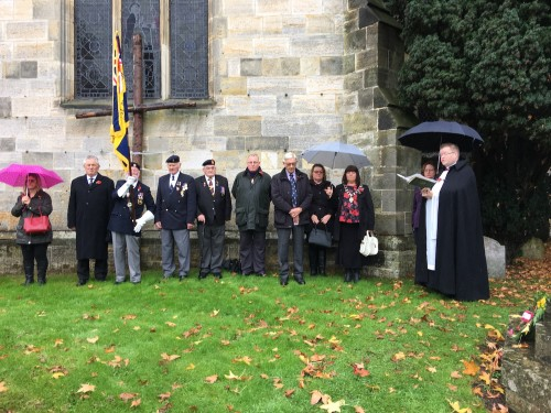 Father John Wall leading the Axct of Remembrance on the 99th anniversary of the Armistice which ended the fighting in World War One