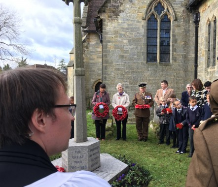 The Rev Nick Cornell (foreground, and the wreath laying party at Maresfield War Memorial