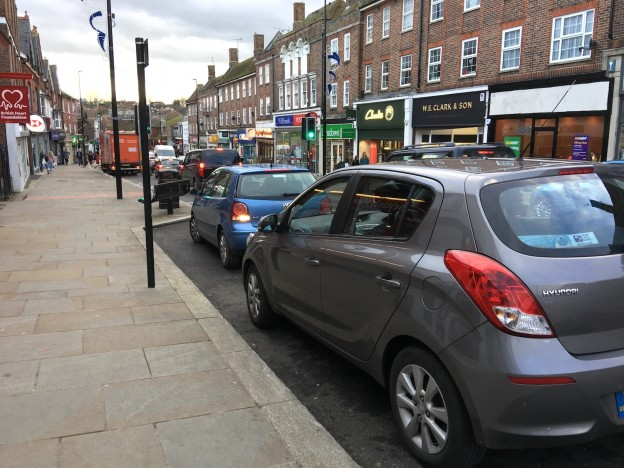 Parking spaces half-way down Uckfield High Street