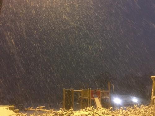 Snow falling over the Hempstead Lane play area tonight