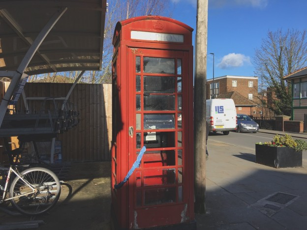 The iconic red phone box waiting to move to a new home in Uckfield town centre