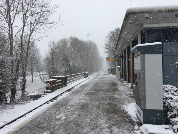 Uckfield railway station in the snow