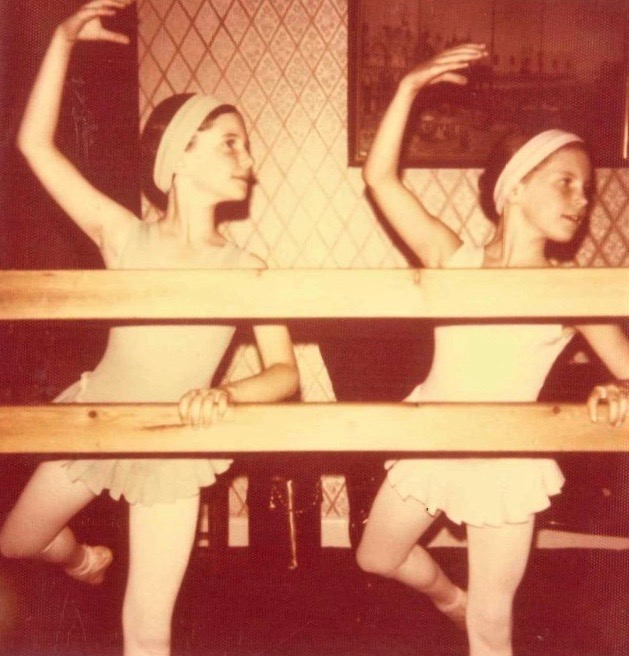 Looking back - Karen is pictured right at an early ballet class.