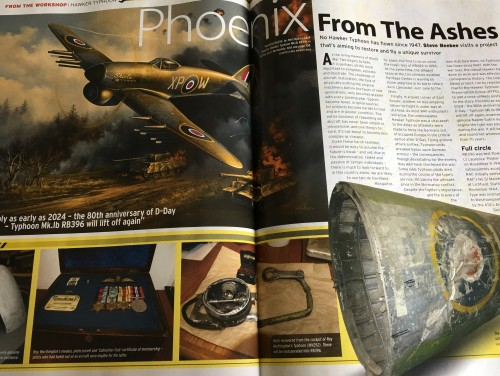 The opening spread on the Uckfield project in this month's FlyPast magazine which features an Uckfield-based restoration project of a Hawker Typhoon