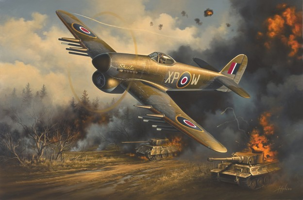 'Warbird RB396' by Neil Hipkiss GAvA depicts Hawker Typhoon Mk.Ib RB396 in action over Normandy.  COURTESY NEIL HIPKISS-GAvA