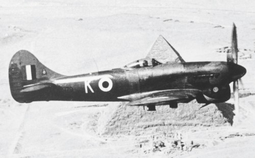 An archive view of Typhoon Mk.Ib EK170 flying in Egypt. RB396 will be restored with a bubble-style canopy, similar to this. Photo courtesy of Key Publishing