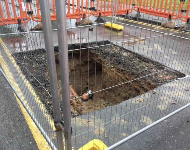 Church Street, Uckfield sinkhole exposed ready for repairs
