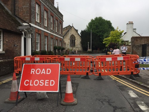 Road closed when the latest sinkhole appeared in Church Street, Uckfield