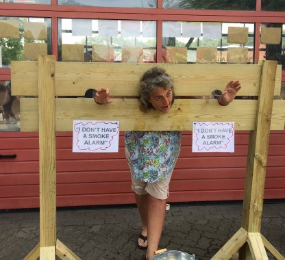 Deputy town mayor Cllr Jackie Love in the pillory