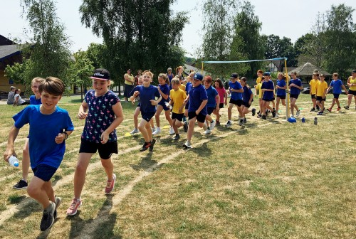 They're off - Year 6 pupils in the opening Race for Life at Harlands Primary School, Uckfield