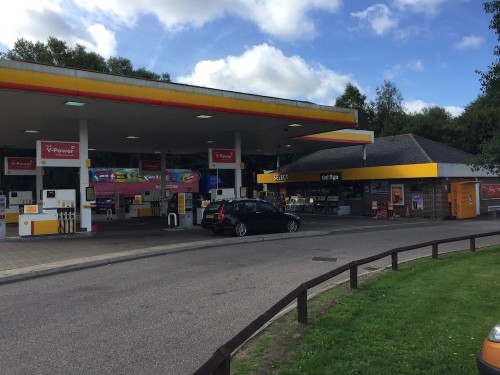 The Shell service station before rebuilding began