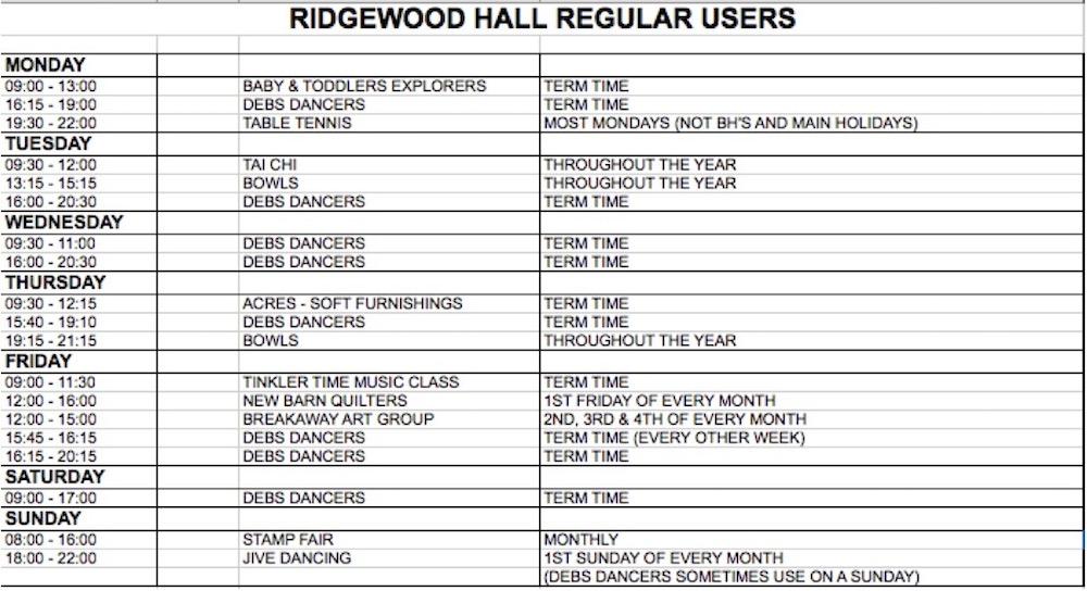 ridgewood-village-hall-timetable