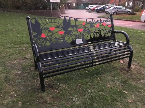 The Lest We Forget bench in Southview Drive, Uckfield, installed by Manor Park and Hempstead Fields Residents Association.