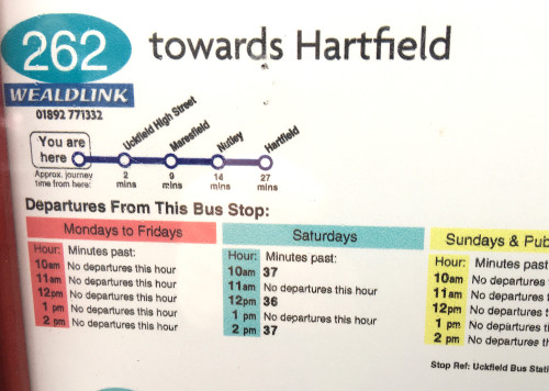 262 bus timetable to hartfield