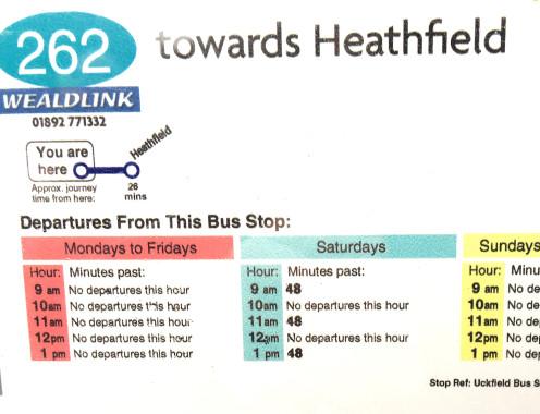 262 timetable to Heathfield
