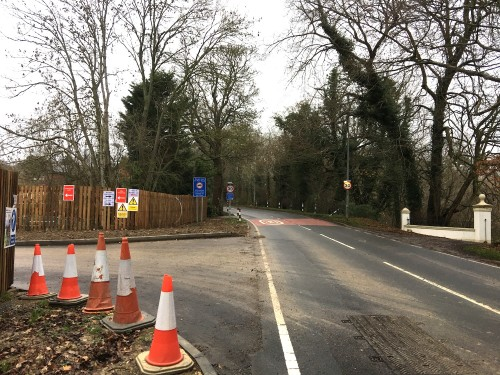This is the entrance to the new Ridgewood Place development, just south of the bend in Lewes Road as it leaves what is now the built-up area.