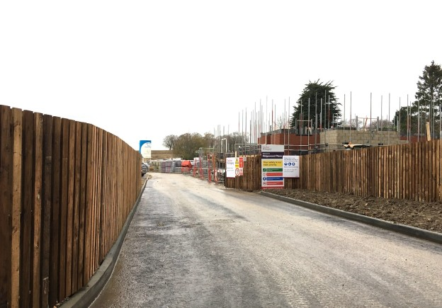 The road into what will become Ridgewood Place, off Lewes Road, Uckfield. This is the start of the construction of 1,000 homes on what used to be Ridgewood Farm.