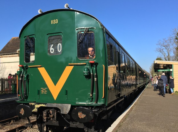 A Thumper returns to Worth Halt at Isfield after a run over  a section of what once was the Uckifled to Lewes railway line