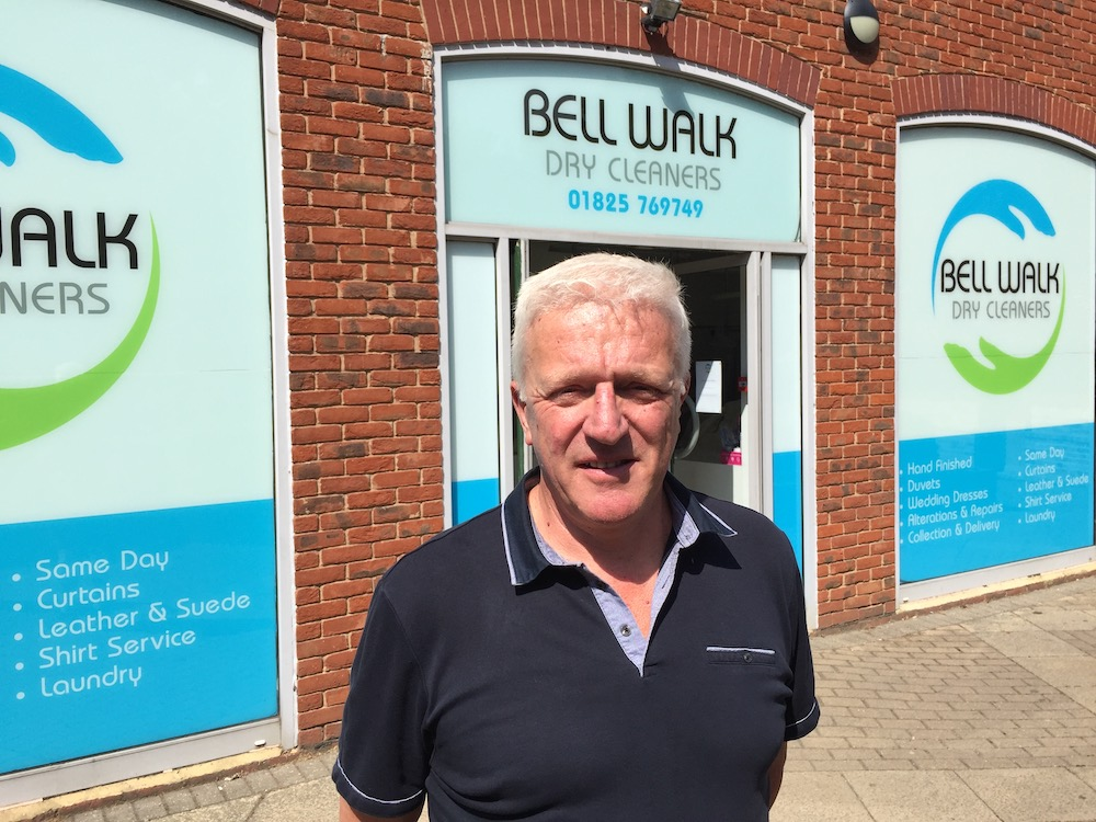 Glen Dixon of Bell Walk dry cleaners opposes the plans for a Timpson kiosk at Tesco, Uckfield