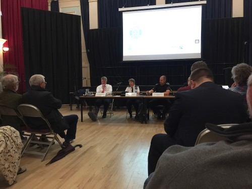 Police at a public meeting in Uckfield last night. From the left are Assistant Chief Constable Nick May, District Commander Chief Inspector Anita Turner and Wealden District Inspector Jon Gross.