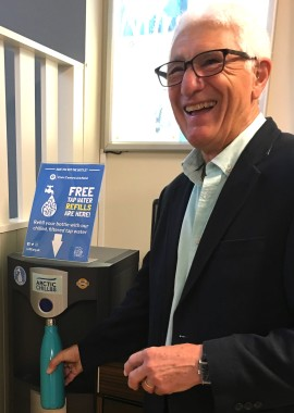 Martin Bennett going for a Refill in Uckfield Civic Centre