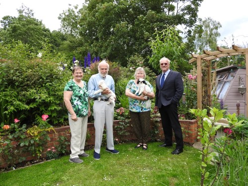 Wealden District Council winners of the best overall garden, Rod and Angela Parchent, of Vuxted Court (centre) with Jean Holland and Cllr Ray Cade