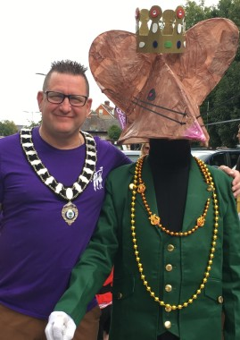Uckfield Town Mayor Spike Mayhew with a character from Uckfield Theatre Guild