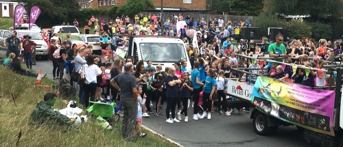 The children's procession prepares to reassemble at Southview Drive
