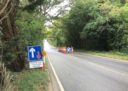 Temporary traffic island in Lewes Road, Ridgewood