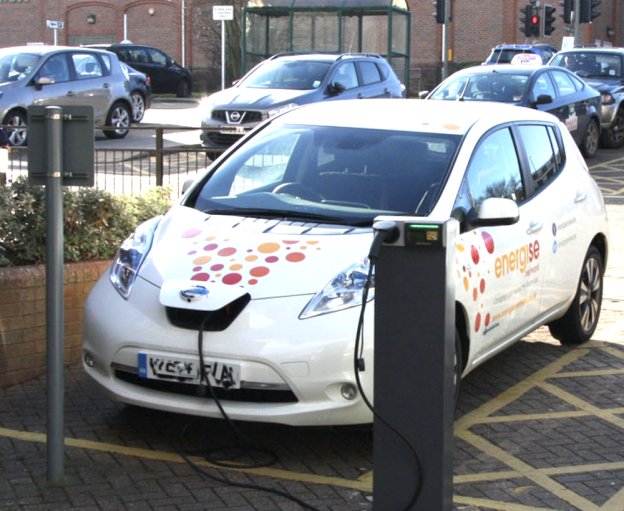 A charging point for electric vehicles in use in Hailsham. Photo: Wealden District Council.