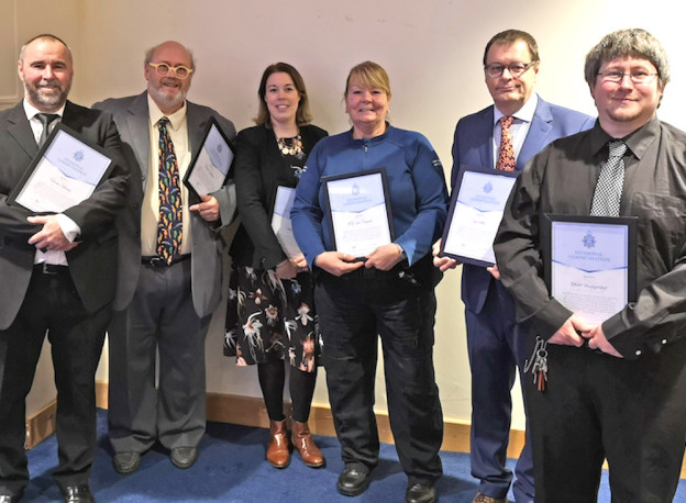 Awards for the team involved in the relaunch of Uckfield Youth Club (from left) Simon Smiley, Chris Lawson, Holly Goring, Sue Choppin, Ian Noble and Robert Muggeridge. (Picture with thanks to Robert Muggeridge and Uckfield Chamber of Commerce)