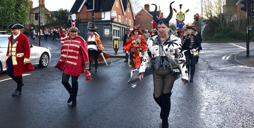 Some great outfits in the bonfire societies' procession to Holy Cross Church
