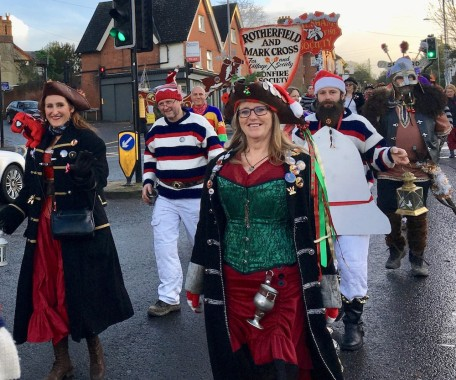 A splash of colour on a winters' day with the Bonfire boys and girls in procession