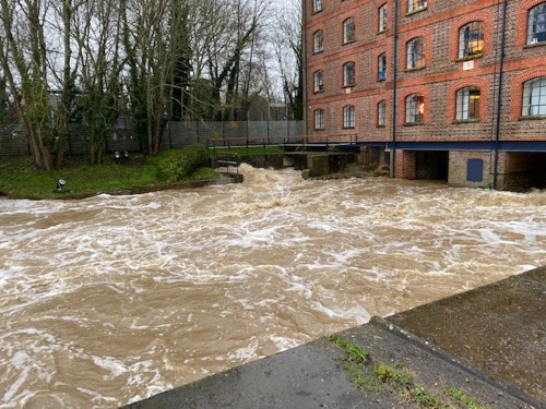 Water swirling through the Roller Mill at Uckfield this morning