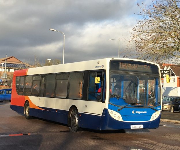 A No 54 Stafgecoach service arrives at Uckfield Bus Station